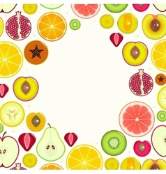 Fruit Slices Round Frame vector image vector image