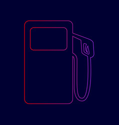 Gas pump sign line icon with gradient vector