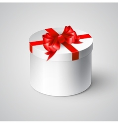 Gift white box with a red bow vector image