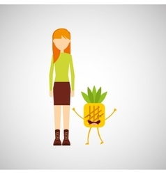 girl cartoon and pineapple cute fruit icon vector image