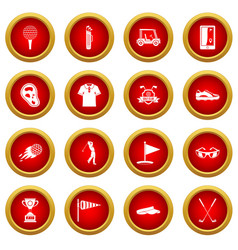 Golf items icon red circle set vector