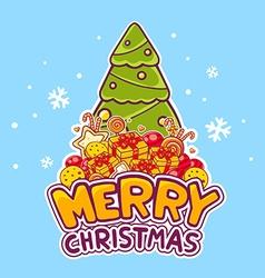 green christmas tree and pile of christma vector image vector image