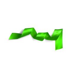 green realistic silk ribbon vector image vector image