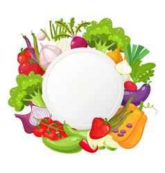Healthy vegetables and vegetarian food round vector