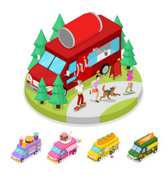isometric street food drink truck with people vector image vector image