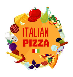 Italian pizza ingredients round concept vector