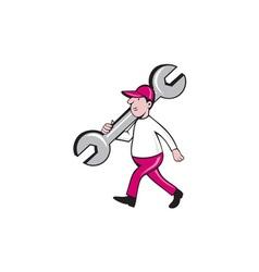 Mechanic monkey wrench walking cartoon vector