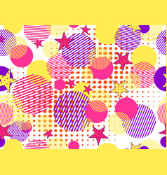 Memphis seamless pattern pop art dotted and vector