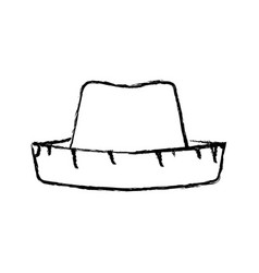 monochrome blurred silhouette of straw hat vector image