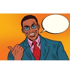 Positive African businessman showing thumb vector image vector image