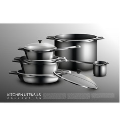 Realistic kitchen utensil collection vector