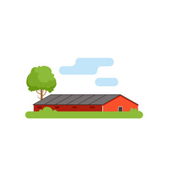 Red barn agricultural farm building countryside vector