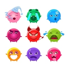 Round characters of different colors emoji set vector
