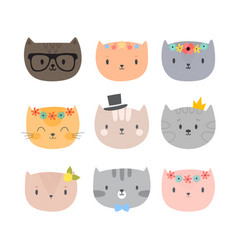 set of cute cartoon cats funny animals different vector image