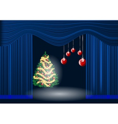 theatre curtain and christmas tree vector image vector image