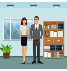 Woman and man workspace office bookshelf plant pot vector