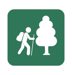 Hiking forest tourist icon vector