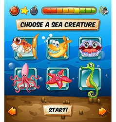 Computer game template with underwater scene vector image