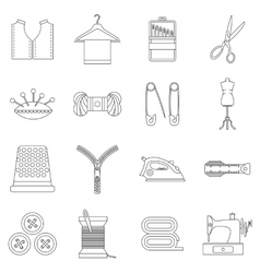 Sewing icons set outline style vector
