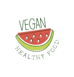 Fresh vegan food promotional sign with slice of vector