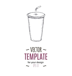 Vintage cold drink drawing hand drawn vector