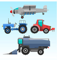 agricultural vehicles and harvester machine vector image