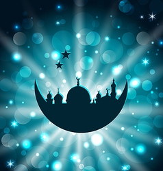Ramadan celebration islamic card with architecture vector image