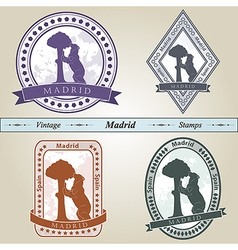 Vintage stamp madrid vector
