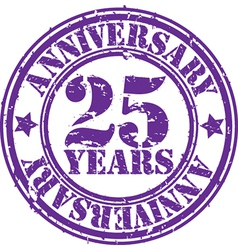 Grunge 25 years anniversary rubber stamp vector image