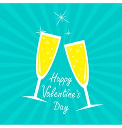 Champagne glasses sunburst happy valentines day vector