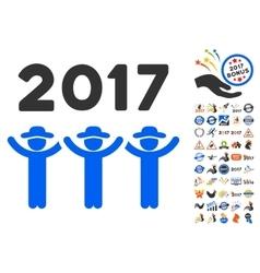 2017 guys dance icon with 2017 year bonus symbols vector