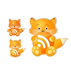 rss icon set as cute red fox toy vector image