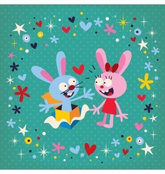 Bunnies in love 2 vector