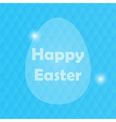 Easter greeting card with egg and blured blue vector