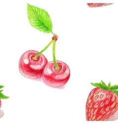 Seamless pattern with cherry and strawberry vector