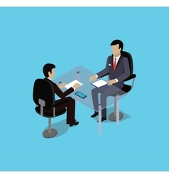 Isometric hiring recruiting interview vector