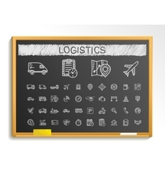 Logistic hand drawing line icons chalk sketch vector