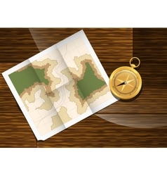Map and compass plan to travel vector