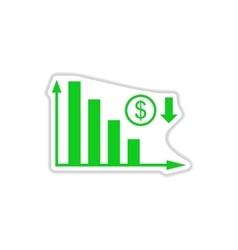 Paper sticker on white background money graph vector