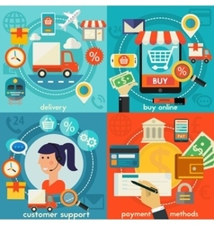 Customer Support Buy Online Payment Methods And vector image