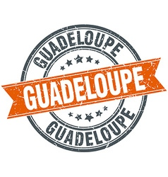 Guadeloupe red round grunge vintage ribbon stamp vector