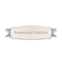 Ramadan kareem festive banner with greeting ribbon vector
