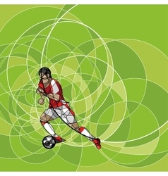 Abstract soccer player on the green background vector