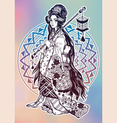 Beautiful geisha ornate kimono costume lantern vector