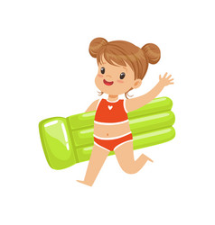 beautiful little girl in a red swimsuit running vector image vector image
