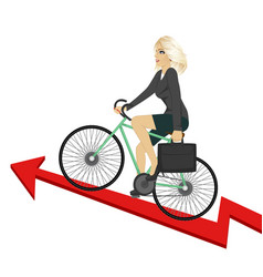 Business woman riding bicycle up success arrow vector