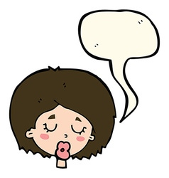 cartoon woman with eyes closed with speech bubble vector image vector image