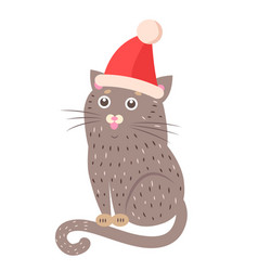 Closeup of funny cat with hat vector