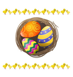 Colored eggs in bird nest isolated vector