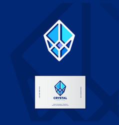 crystal logo faceted stone emblem vector image
